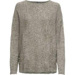 Sweter dzianinowy bonprix ciemnooliwkowo-biały melanż. Zielone swetry oversize damskie bonprix, z dzianiny. Za 109,99 zł.