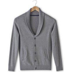 Sweter rozpinany z kołnierzem szalowym, 100% bawełny. Czarne kardigany męskie La Redoute Collections, l, z bawełny. Za 75,60 zł.