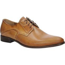 Brązowe buty wizytowe skórzane sznurowane słomka palony DUO MEN 01707E-05-L-5-010. Brązowe buty wizytowe męskie Duo Men, na sznurówki. Za 238,99 zł.