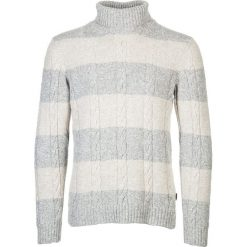 Swetry męskie: Golf w kolorze szaro-kremowym
