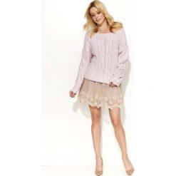 Swetry damskie: Różowy Sweter Melanżowy z Warkoczami