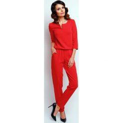 Elegancki Wyjściowy Kombinezon z Suwakiem - Czerwony. Czerwone kombinezony eleganckie marki Molly.pl, l, długie. W wyprzedaży za 118,95 zł.