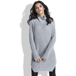 Tuniki damskie z długim rękawem: Szary Sweter-Tunika z Półgolfem