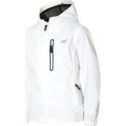 Kurtka miejska dla dużych dziewcząt JKUD406 - biały. Białe kurtki chłopięce przeciwdeszczowe marki 4F JUNIOR, na lato, z materiału. Za 89,99 zł.