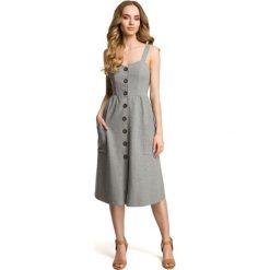 Sukienki: Sukienka na szelkach z guzikami - szara