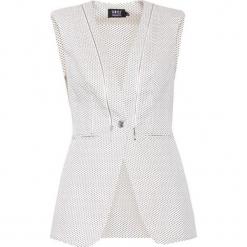 Kamizelka w kolorze białym ze wzorem. Szare kamizelki damskie marki Simple. W wyprzedaży za 259,95 zł.