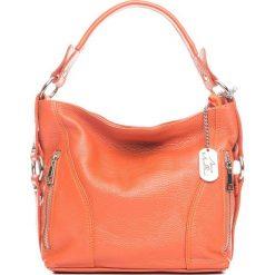 Torebki klasyczne damskie: Skórzana torebka w kolorze pomarańczowym – 32 x 25 x 10 cm