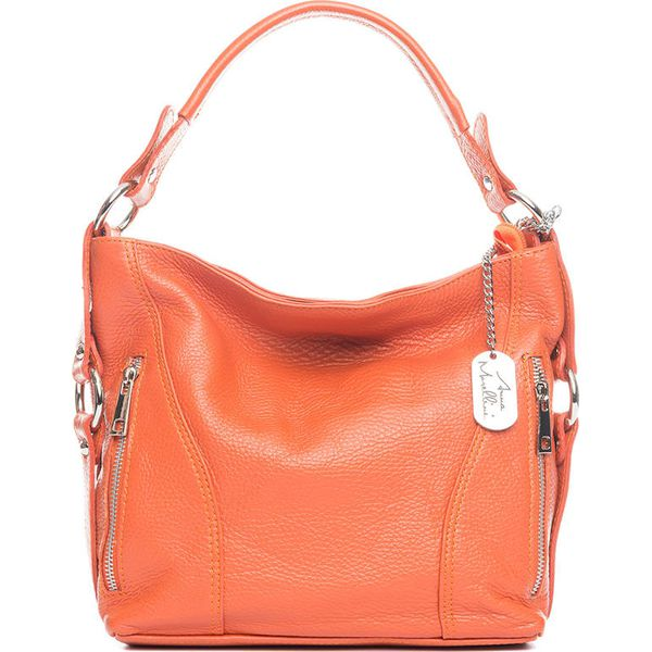 cb5b1718cdca6 Skórzana torebka w kolorze pomarańczowym - 32 x 25 x 10 cm ...