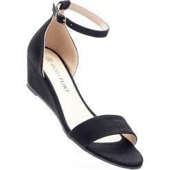 Rzymianki damskie: Sandały na koturnie bonprix czarny