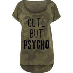 Bluzki asymetryczne: Cute But Psycho Koszulka damska kamuflaż Woodland