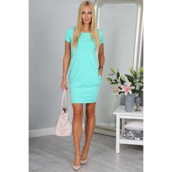 Sukienka miętowa z krótkim rękawem  9967. Zielone sukienki Fasardi, l, z krótkim rękawem, mini, oversize. Za 39,00 zł.