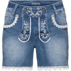 """Krótkie spodenki ludowe bonprix niebieski """"bleached"""". Niebieskie bermudy damskie bonprix, z haftami, z jeansu. Za 99,99 zł."""