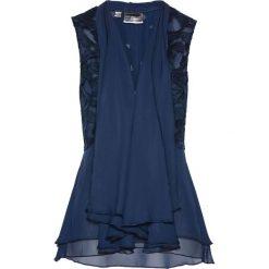 Kamizelka bluzkowa z koronką bonprix ciemnoniebieski. Niebieskie kamizelki damskie bonprix, z koronki. Za 129,99 zł.