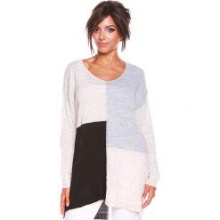 """Swetry oversize damskie: Sweter """"Molly"""" w kolorze beżowo-szaro-czarnym"""