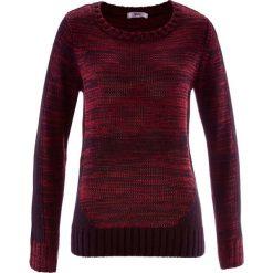 Sweter, długi rękaw bonprix czerwony klonowy melanż. Czerwone swetry klasyczne damskie bonprix, z kontrastowym kołnierzykiem. Za 109,99 zł.