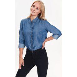 KOSZULA DAMSKA Z FALBANĄ DŁUGI RĘKAW. Szare koszule jeansowe damskie marki Top Secret, eleganckie, z chokerem. Za 54,99 zł.