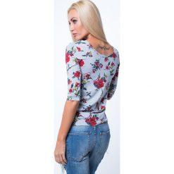 Bluzki damskie: Bluzka w kwiaty z dekoltem na plecach jasnoszara 8064