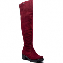 Muszkieterki EVA MINGE - Manlleu 4N 18SM1372495EF 834. Czerwone buty zimowe damskie Eva Minge, ze skóry, na obcasie. W wyprzedaży za 449,00 zł.