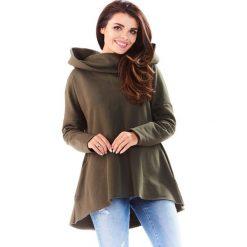 Bluzy damskie: Khaki Bluza Asymetryczna z Kapturem