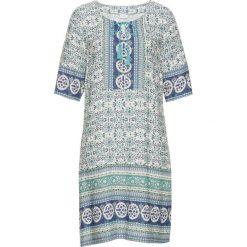 Sukienki: Sukienka z nadrukiem bonprix biel wełny – turkusowy wzorzysty