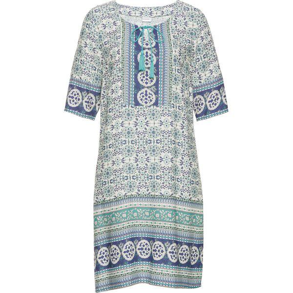 b08518379d Sukienka z nadrukiem bonprix biel wełny - turkusowy wzorzysty ...