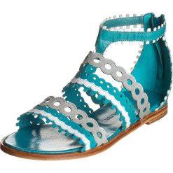 """Rzymianki damskie: Skórzane sandały """"Celia"""" w kolorze turkusowo-srebrnym"""
