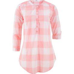 Tuniki damskie: Tunika koszulowa w kratę bonprix jasnoróżowy cukierkowy - biały w kratę