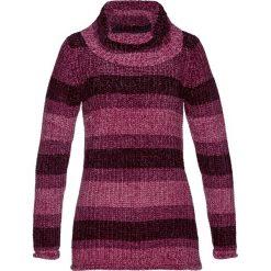 Golfy damskie: Sweter z golfem z szenili bonprix jeżynowy