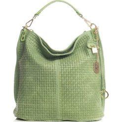 Torebki klasyczne damskie: Skórzana torebka w kolorze zielonym – 42 x 38 x 17 cm