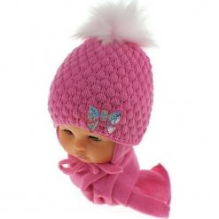 Czapka niemowlęca z szalikiem CZ+S 123C. Różowe czapeczki niemowlęce Proman. Za 42,82 zł.