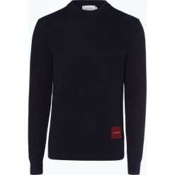 Calvin Klein - Sweter męski, niebieski. Pomarańczowe swetry klasyczne męskie marki Calvin Klein, l, z bawełny, z okrągłym kołnierzem. Za 599,95 zł.