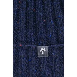 Marc O'Polo - Czapka. Niebieskie czapki zimowe męskie Marc O'Polo, z dzianiny. W wyprzedaży za 139,90 zł.