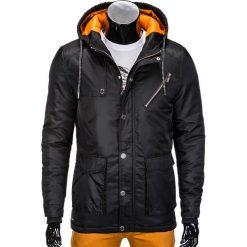 KURTKA MĘSKA PRZEJŚCIOWA PARKA C302 - CZARNA. Czarne kurtki męskie bomber Ombre Clothing, m, z nylonu. Za 99,00 zł.