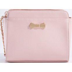 Torebki klasyczne damskie: Mała torebka ze złotą kokardką – Różowy