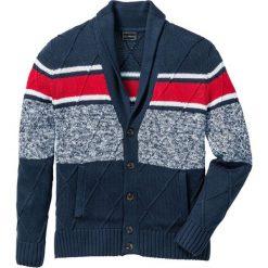 Swetry męskie: Sweter rozpinany z szalowym kołnierzem  Regular Fit bonprix ciemnoniebiesko-czerwono-biały