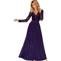 Sukienki: Granatowa Szykowna Długa Sukienka Wieczorowa z Koronką