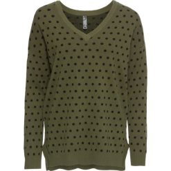 Swetry klasyczne damskie: Sweter MUST HAVE bonprix ciemnooliwkowo-czarny w kropki