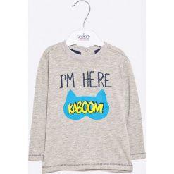 Blu Kids - Longsleeve dziecięcy  68-98 cm. Szare t-shirty męskie z nadrukiem Blukids, z bawełny, z długim rękawem. W wyprzedaży za 14,90 zł.