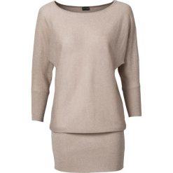 Sweter z lureksową nitką bonprix cielisty. Brązowe swetry klasyczne damskie bonprix. Za 99,99 zł.