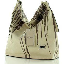 Wygodna torebka miejska beżowy. Brązowe shopper bag damskie FURRINI, w paski, ze skóry. Za 100,00 zł.