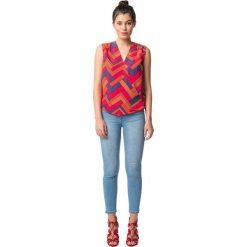 Bluzy rozpinane damskie: Bluza z dekoltem w serek z graficznym nadrukiem, bez rękawów