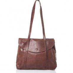 Skórzana torebka w kolorze brązowym - 40 x 37 x 7 cm. Brązowe torebki klasyczne damskie I MEDICI FIRENZE, w paski, z materiału. W wyprzedaży za 434,95 zł.