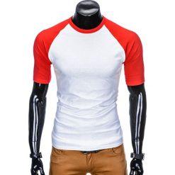 T-shirty męskie: T-SHIRT MĘSKI BEZ NADRUKU S877 – BIAŁY/CZERWONY