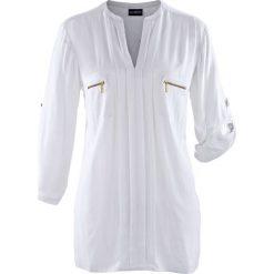 Bluzka bonprix biały. Białe bluzki asymetryczne bonprix. Za 109,99 zł.