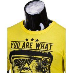 T-shirty męskie: T-SHIRT MĘSKI Z NADRUKIEM S816 – ŻÓŁTY