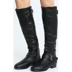 Czarne Kozaki Capacious. Czarne buty zimowe damskie marki Born2be, z materiału, z okrągłym noskiem, na obcasie. Za 129,99 zł.