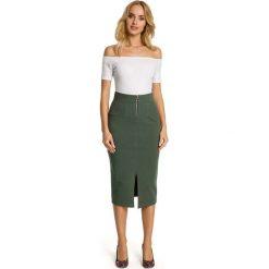Spódniczki: Khaki Spódnica Ołówkowa Midi z Ozdobnym Suwakiem
