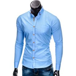 KOSZULA MĘSKA ELEGANCKA Z DŁUGIM RĘKAWEM K302 - BŁĘKITNA. Brązowe koszule męskie na spinki marki Ombre Clothing, m, z aplikacjami, z kontrastowym kołnierzykiem, z długim rękawem. Za 59,00 zł.