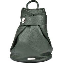 Plecaki damskie: Skórzany plecak w kolorze zielonym – 33,5 x 34 x 1 cm