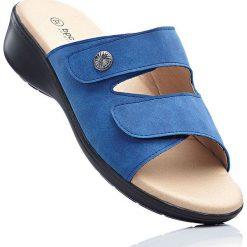 Wygodne klapki bonprix niebieski dżins. Niebieskie klapki damskie bonprix, w paski, na koturnie. Za 109,99 zł.
